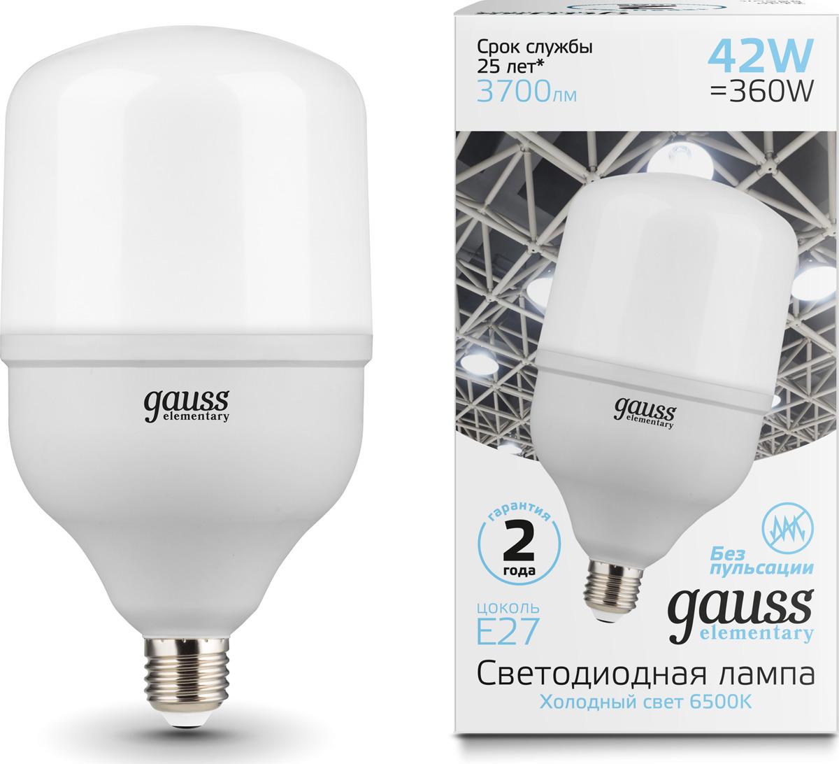 Лампочка Gauss Elementary LED, T120, E27, 42W. 63234