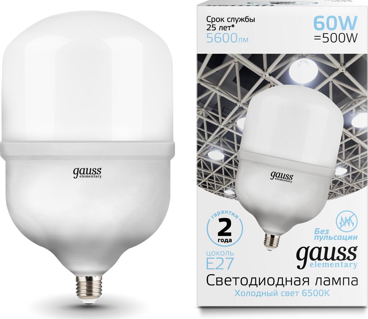 Лампочка Gauss Elementary LED, T160, E27, 60W. 63236