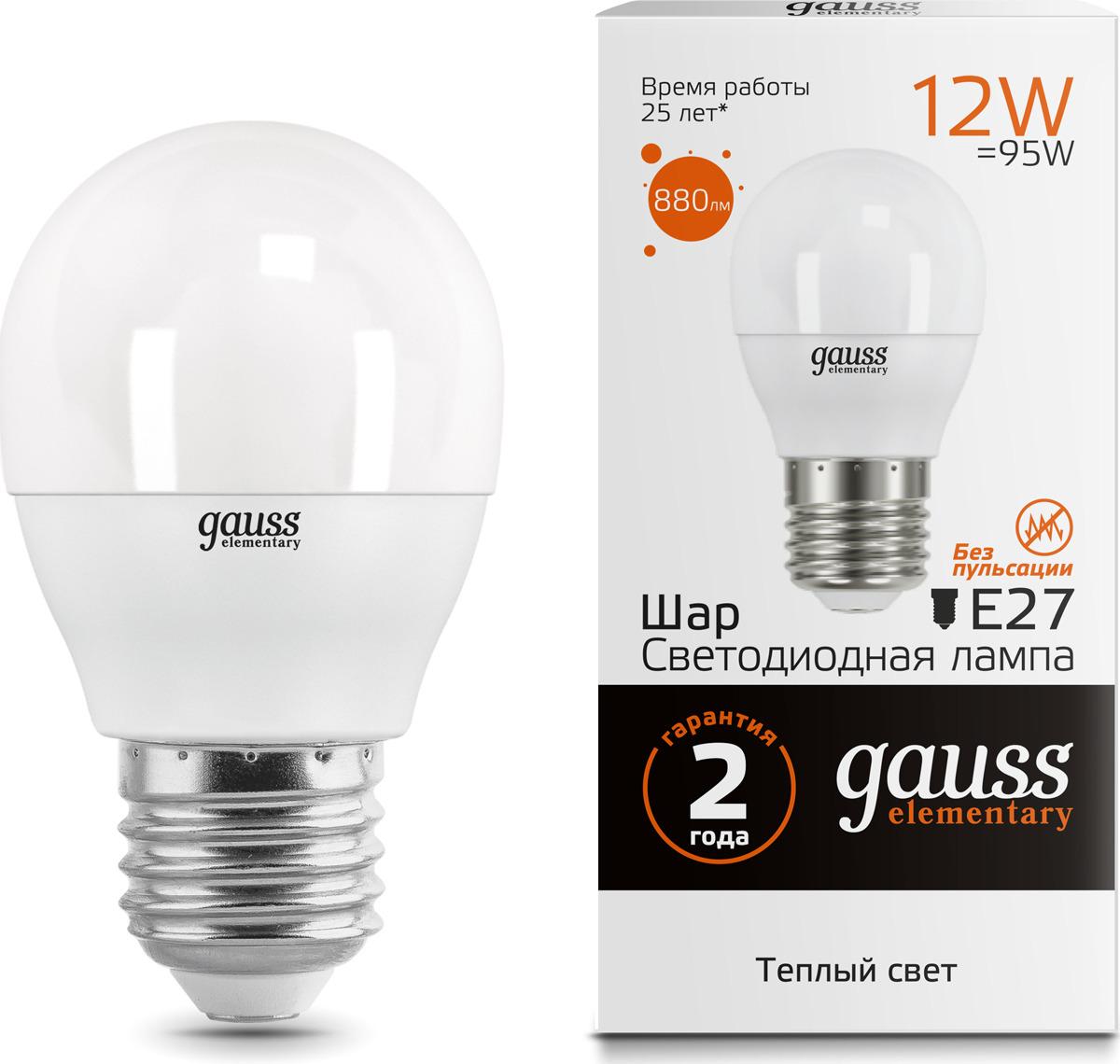 Лампочка Gauss Elementary LED, 53212, шар, E27, 12W