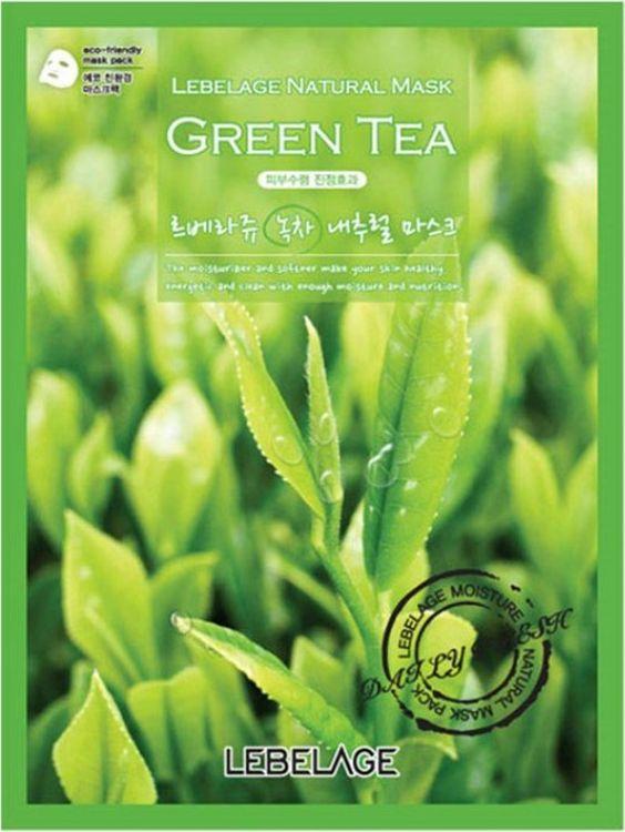 Маска тканевая Lebelage, с экстрактом зеленого чая, 23 г маска д лица подтягивающая с коллагеном и экстрактом зеленого чая тканевая основ1шт 23мл 24шт sl 211