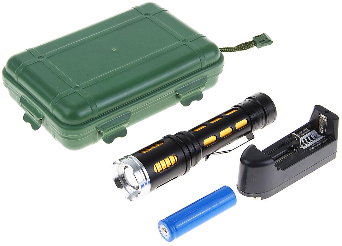 Ручной фонарь, светодиодный, 3 режима, 1164123, черный, желтый