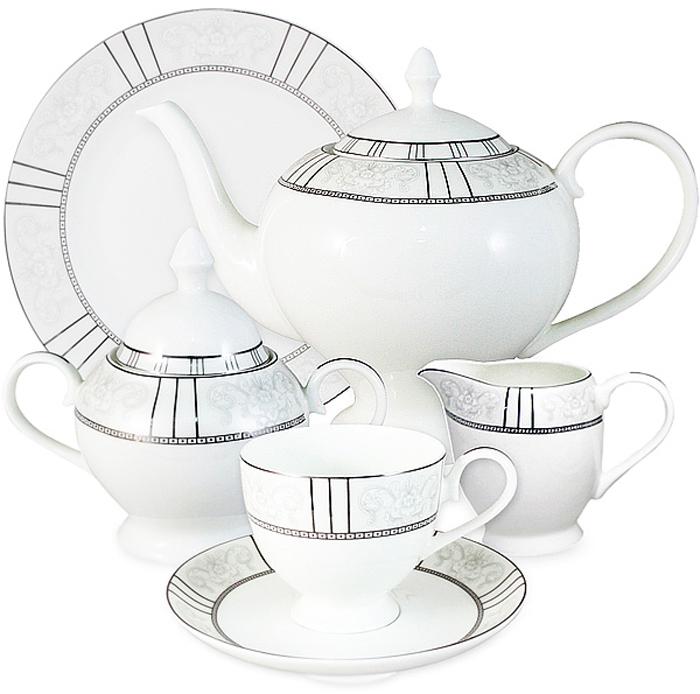 Сервиз чайный Anna Lafarg Emily Шенонсо, AL-10-12/21-E5, белый, светло-серый, 21 предмет сервиз чайный emerald шенонсо 6 21 фарфор