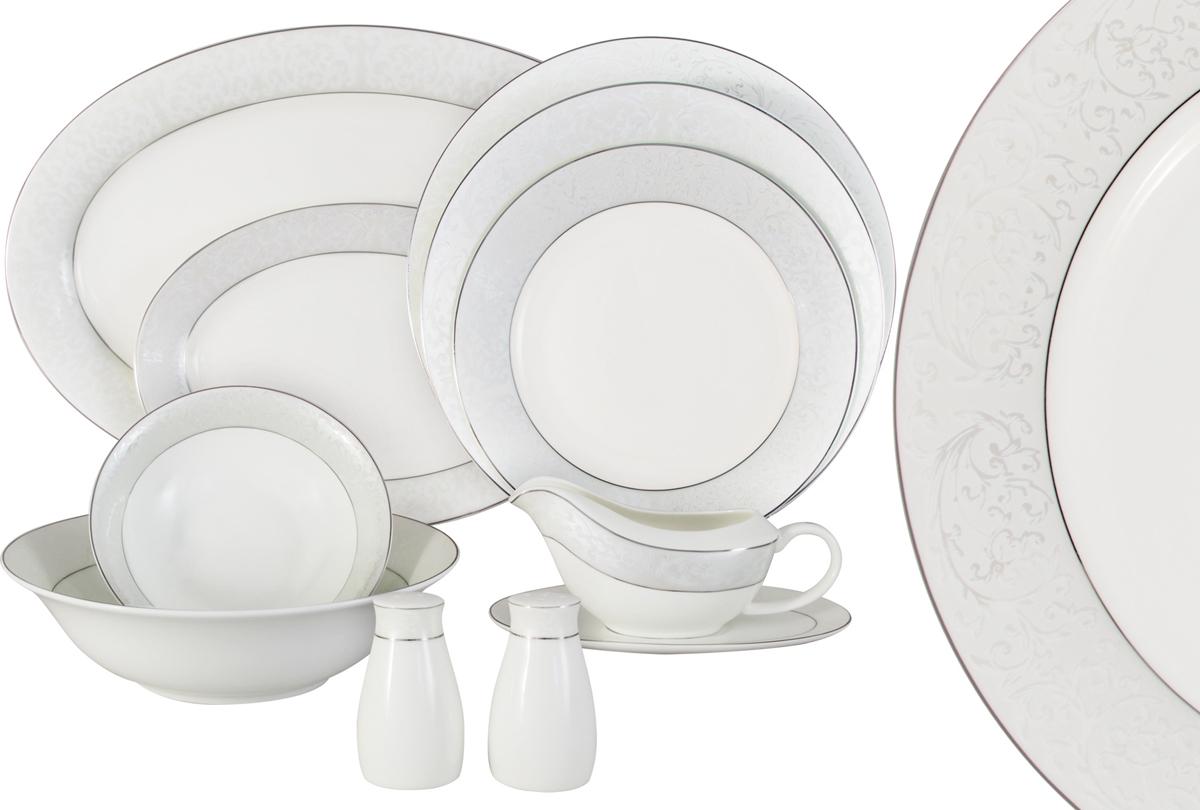 Сервиз обеденный Anna Lafarg Emily Мелисента, AL-14-310/27-E5, белый, светло-серый, 27 предметов цена