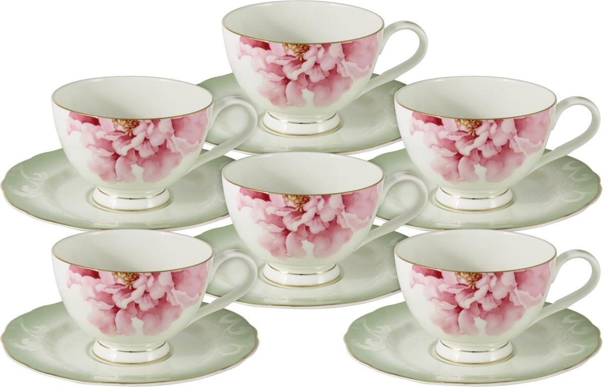 """Набор чайный Anna Lafarg Emily """"Заря"""", AL-M1836/12-E9, белый, светло-розовый, светло-зеленый, 12 предметов"""