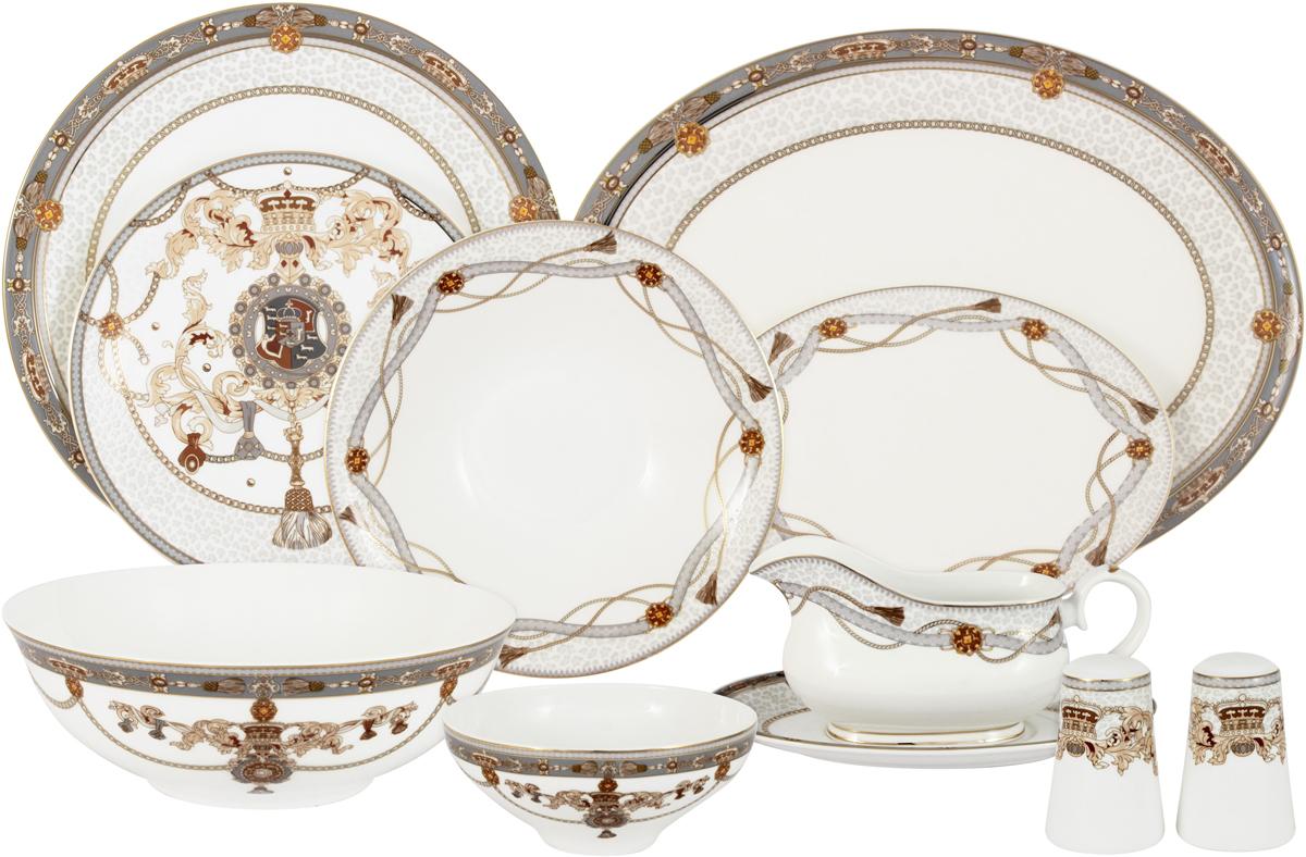 Сервиз обеденный Anna Lafarg Emily Принц Эдвард, AL-M2129/27-E9, белый, коричневый, 27 предметов цена