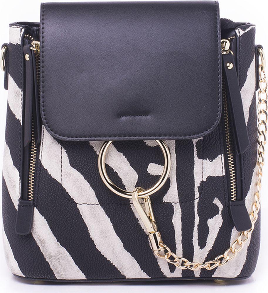 Рюкзак женский Baggini, 28228Z/99, черный, белый baifeng baifeng плечо сумка стиль элегантный серии корейский случайный свет мини чистый цвет нейлон гарнитура отверстие рюкзак женский черный
