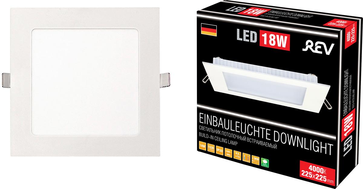 Потолочный светильник REV SuperSlim Quadro, светодиодный, LED, 18 Вт n140hce en1 rev c2 rev c1 rev c4 rev b3 ips 72
