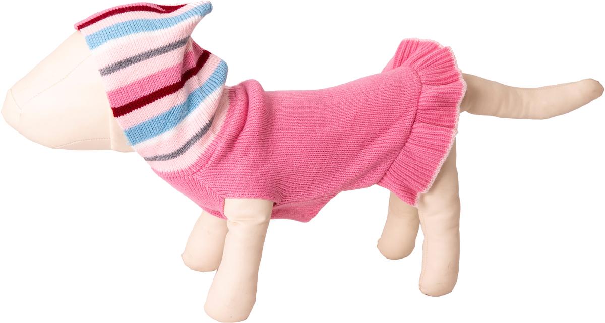 Платье для собак Каскад, с полосатым капюшоном, 52000508, розовый. Размер S