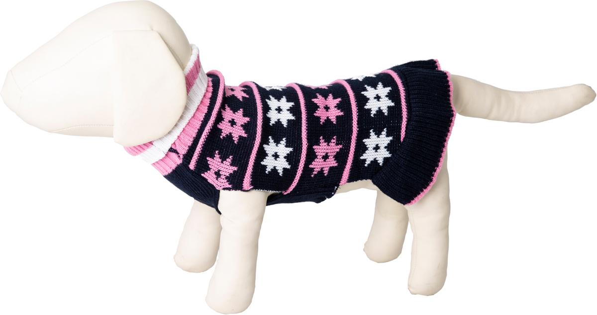 """Платье для собак Каскад """"Цветочки"""", 52000510, темно-синий, розовый, размер L"""