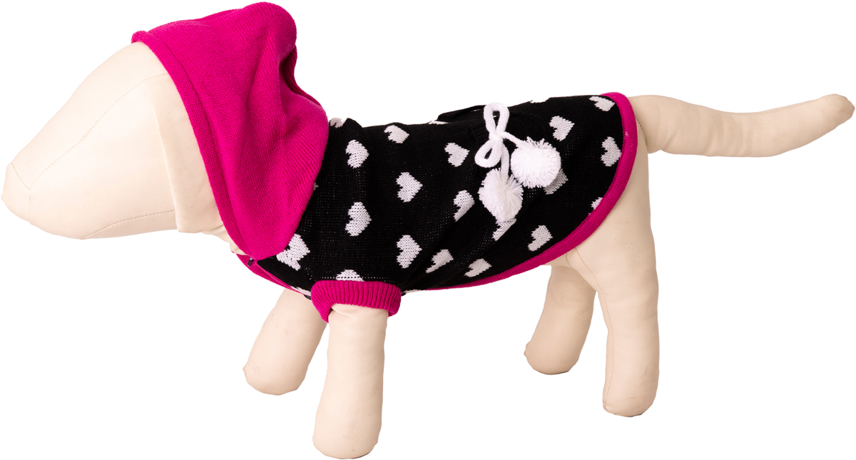 """Свитер для собак Каскад """"Сердечки"""" с помпонами и капюшоном, 52000626, черный, розовый, размер M"""