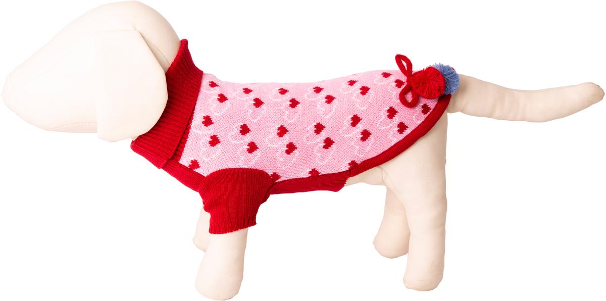 """Свитер для собак Каскад """"Сердечки"""" с помпонами, 52000653, розовый, размер S"""