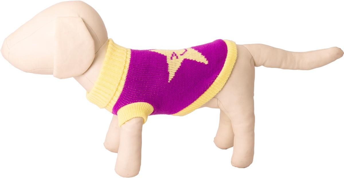 "Свитер для собак Каскад ""Звезда"", 52001010, фиолетовый, желтый, размер M"