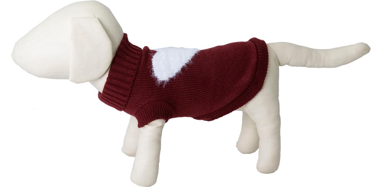 """Свитер для собак Каскад """"Сердце"""", 52001102, бордовый, размер S"""
