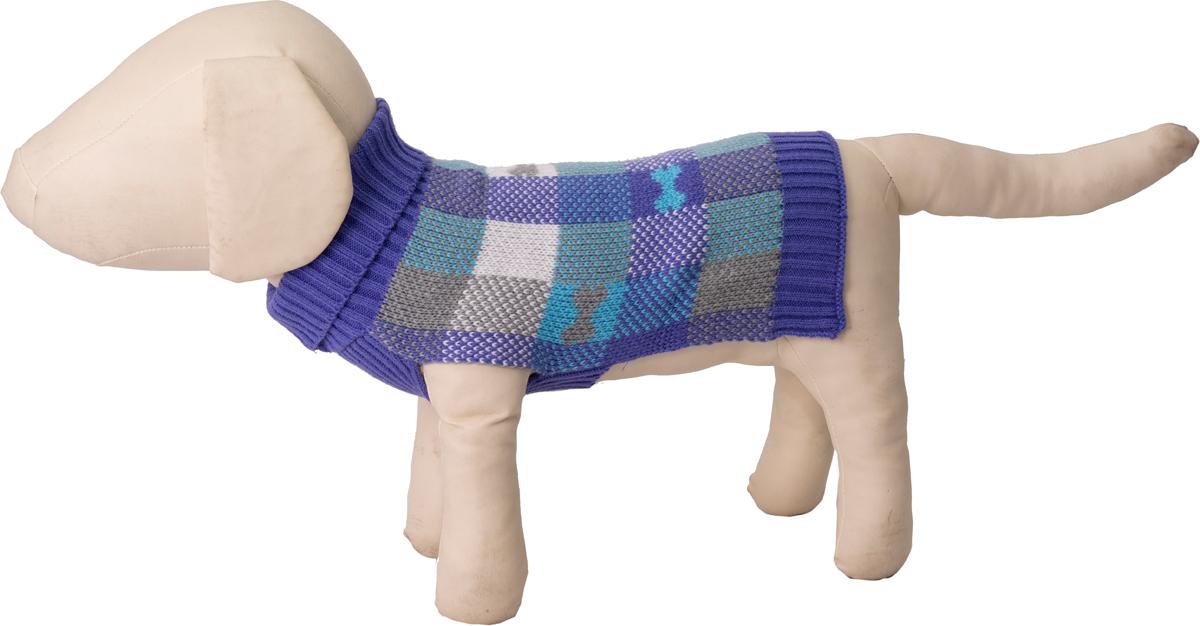 """Свитер для собак Каскад """"Косточка"""" в клетку, 52001109, синий, размер M"""