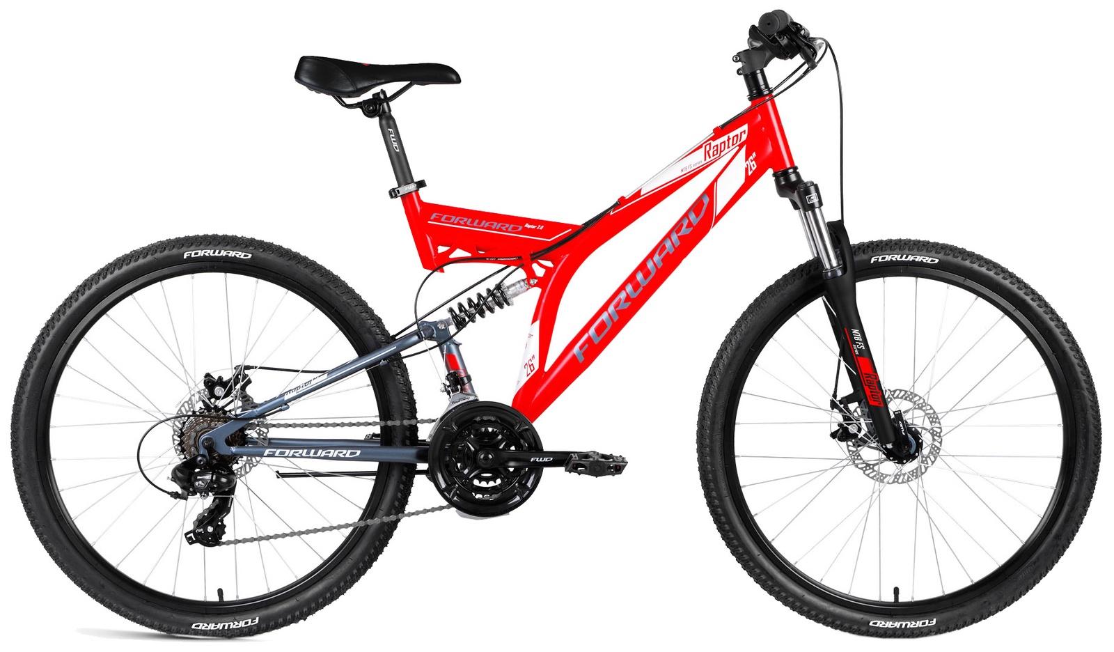 Велосипед Forward RAPTOR 26 2.0 disc, RBKW8S6Q003, красный, серый вилка амортизационная suntour гидравлическая для велосипедов 26 ход 100 120мм sf14 xcr32 rl 26