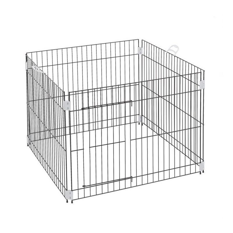 Ограждение для животных КИСПИС Манеж 4 секции с дверцей 650 х 650 х 650 мм., серый металлик