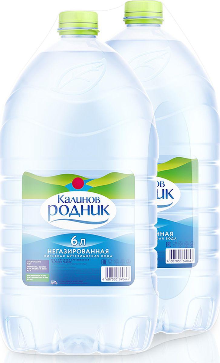 Вода Калинов Родник питьевая артезианская негазированная, 2 шт по 6 л вода калинов родничок для детей 6 шт по 2 0 л