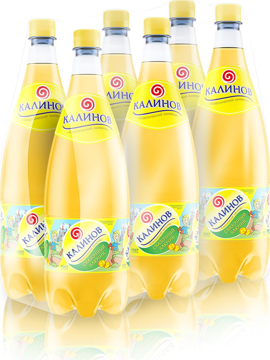 Лимонад Калинов Родник Сказочный ключик, 6 шт по 1,5 л калинов лимонад сказочный ключик 12 шт по 0 5 л
