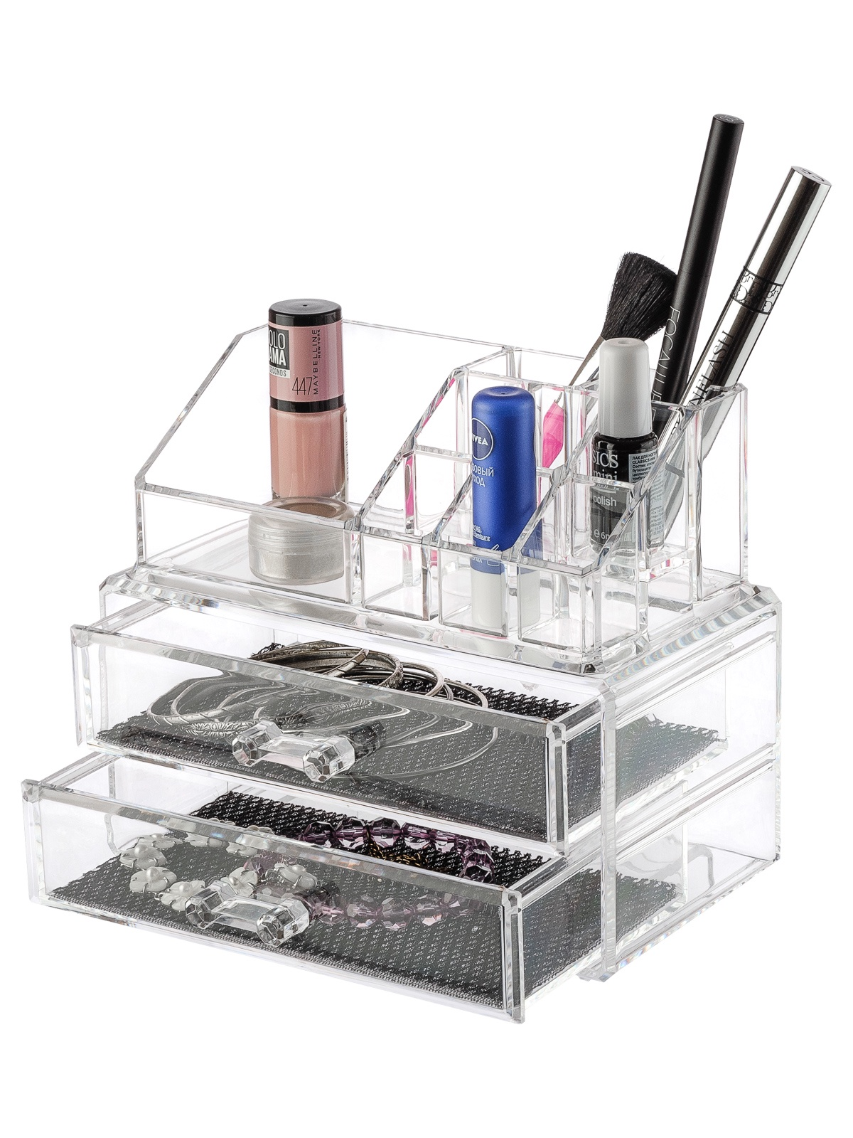 Органайзер для мелочей и косметики HomeMaster Органайзер для мелочей и косметики 3, SO026092, прозрачный чемодан для косметики 3 полки h10510