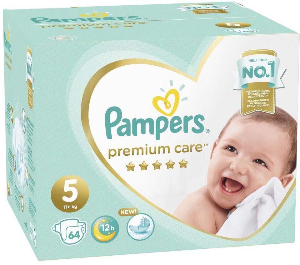 Подгузники Pampers Premium Care 11+ кг, размер 5, 64 шт подгузники pampers premium care 5 11 кг 64 шт