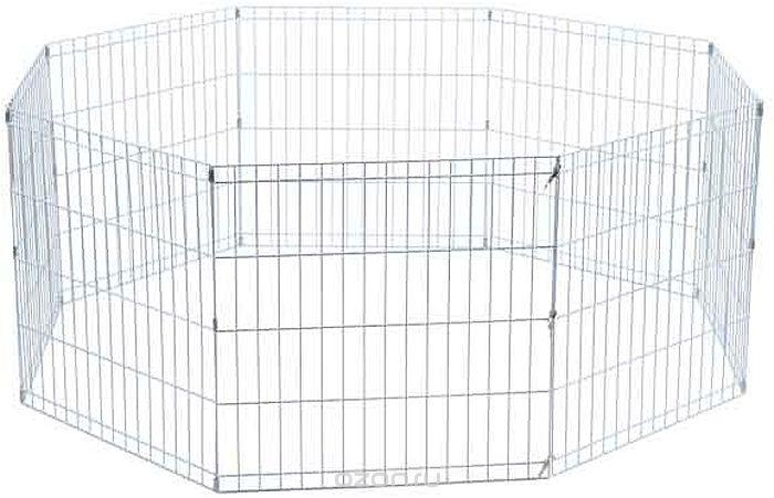 Ограждение для животных КИСПИС Стальной манеж 8 секций с дверцей 650 х 650 мм., серый металлик