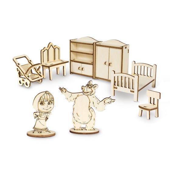 Деревянный конструктор Маша и Медведь Спальня, 8 предметов, фанера