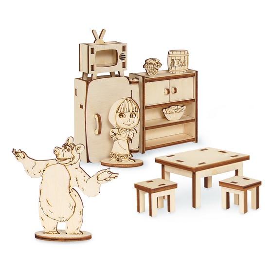 Деревянный конструктор Маша и Медведь Кухня, 8 предметов, фанера
