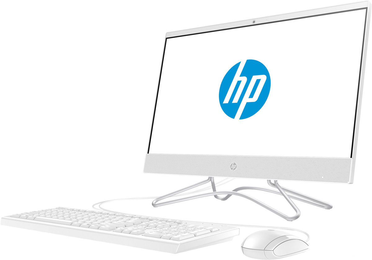 Моноблок HP 22-c0025ur, 4GS90EA, 21.5, белый системный блок dell optiplex 3050 sff i3 6100 3 7ghz 4gb 500gb hd620 dvd rw linux клавиатура мышь черный 3050 0405
