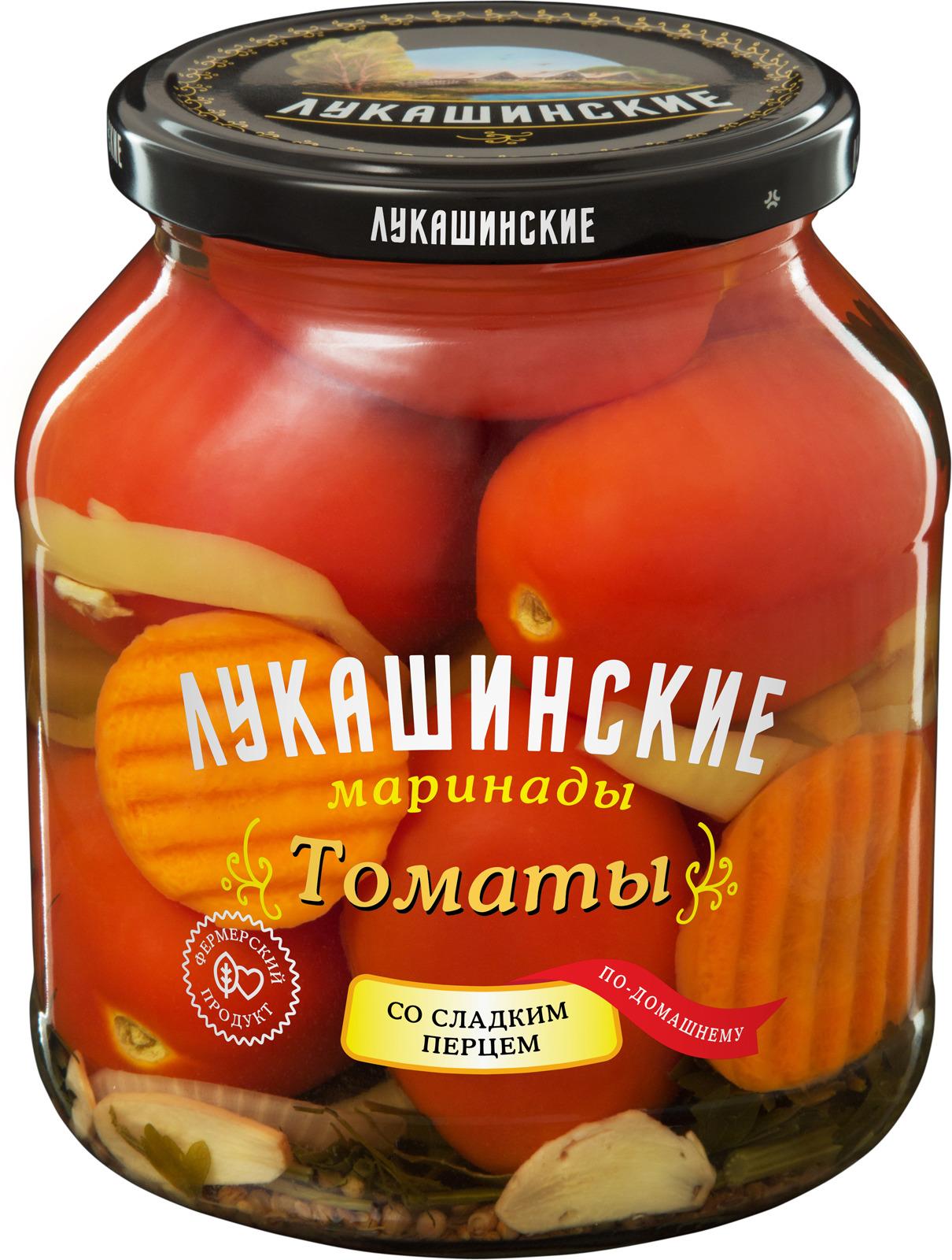 Лукашинские Томаты маринованные по-домашнему со сладким перцем, 670 г lorado томаты маринованные 720 мл