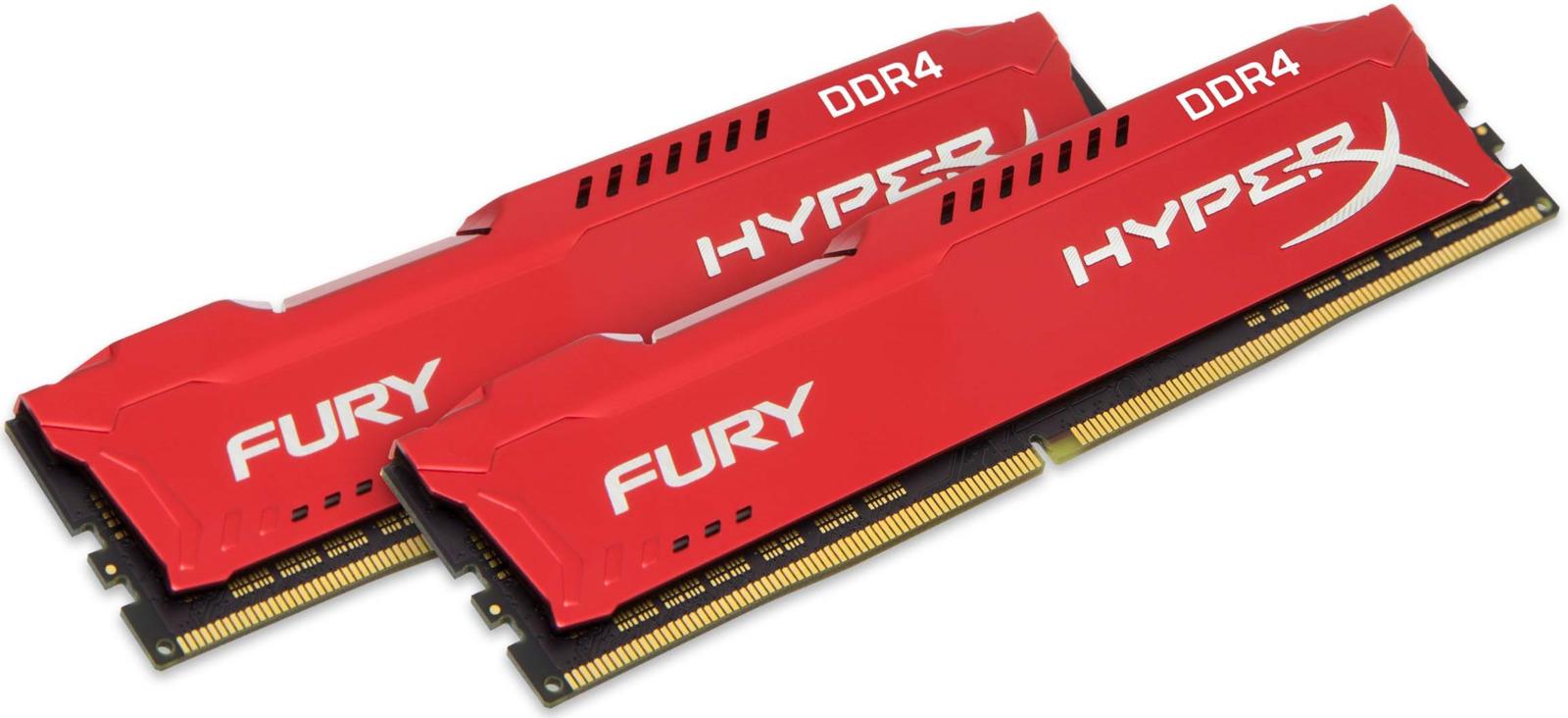 Комплект модулей оперативной памяти Kingston HyperX Fury DDR4 DIMM, 32GB (2х16GB), 2400MHz, CL15, HX424C15FRK2/32, red