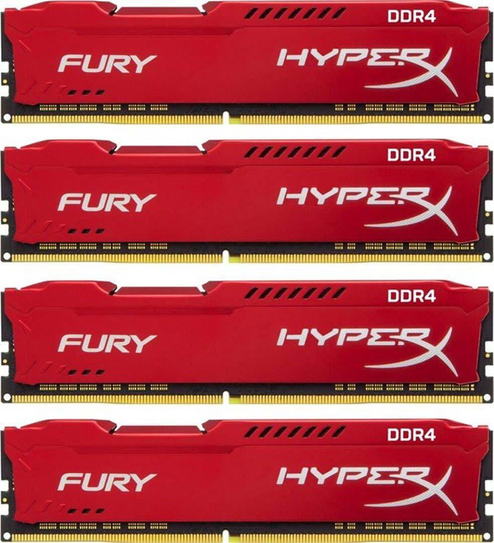 Комплект модулей оперативной памяти Kingston HyperX Fury DDR4 DIMM, 64GB (4х16GB), 2933MHz, CL17, HX429C17FRK4/64, red