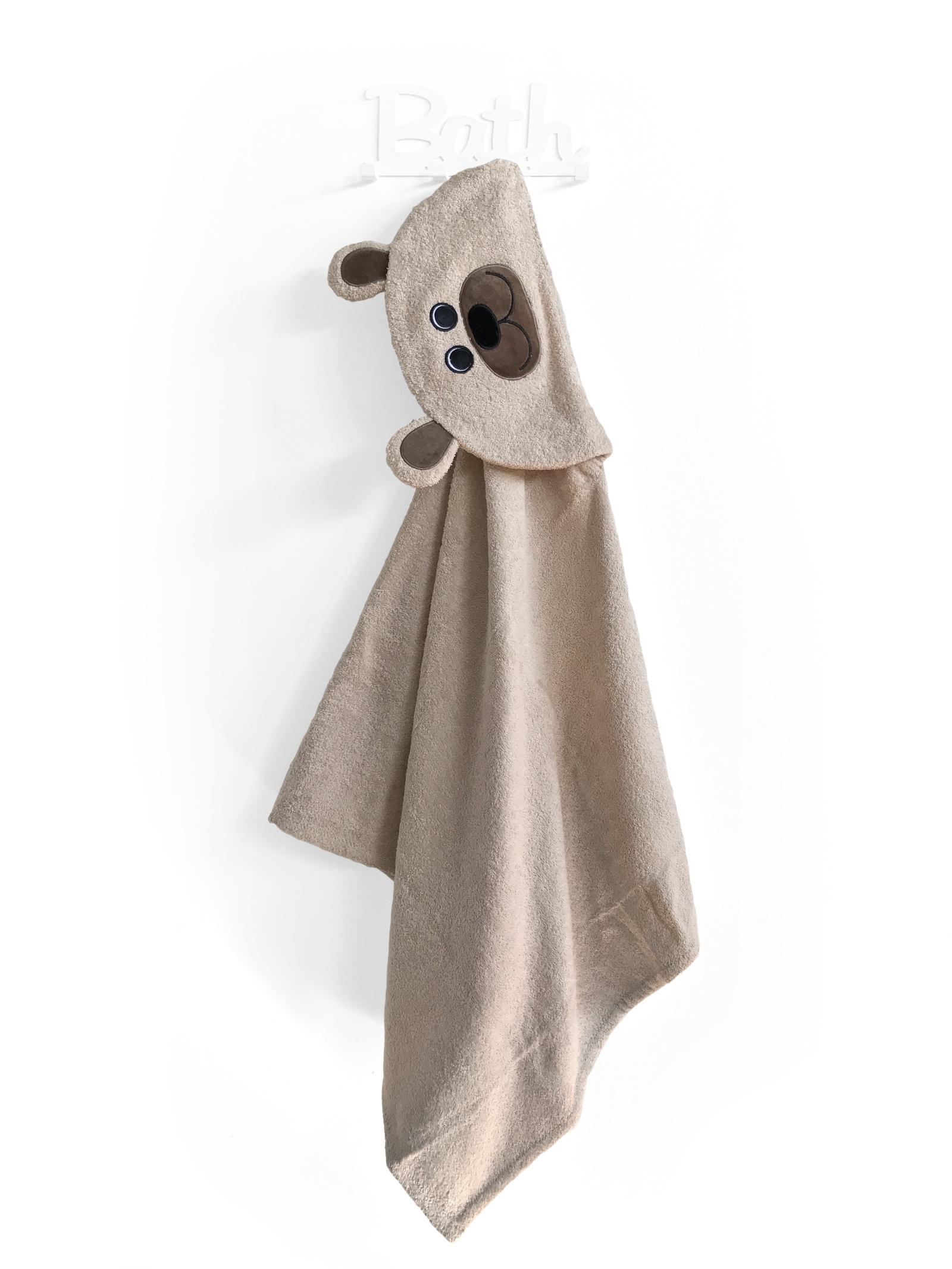 Полотенце детское Fluffy-Bunny с капюшоном Мишка Бежевый, бежевый imsevimse полотенце с капюшоном cова
