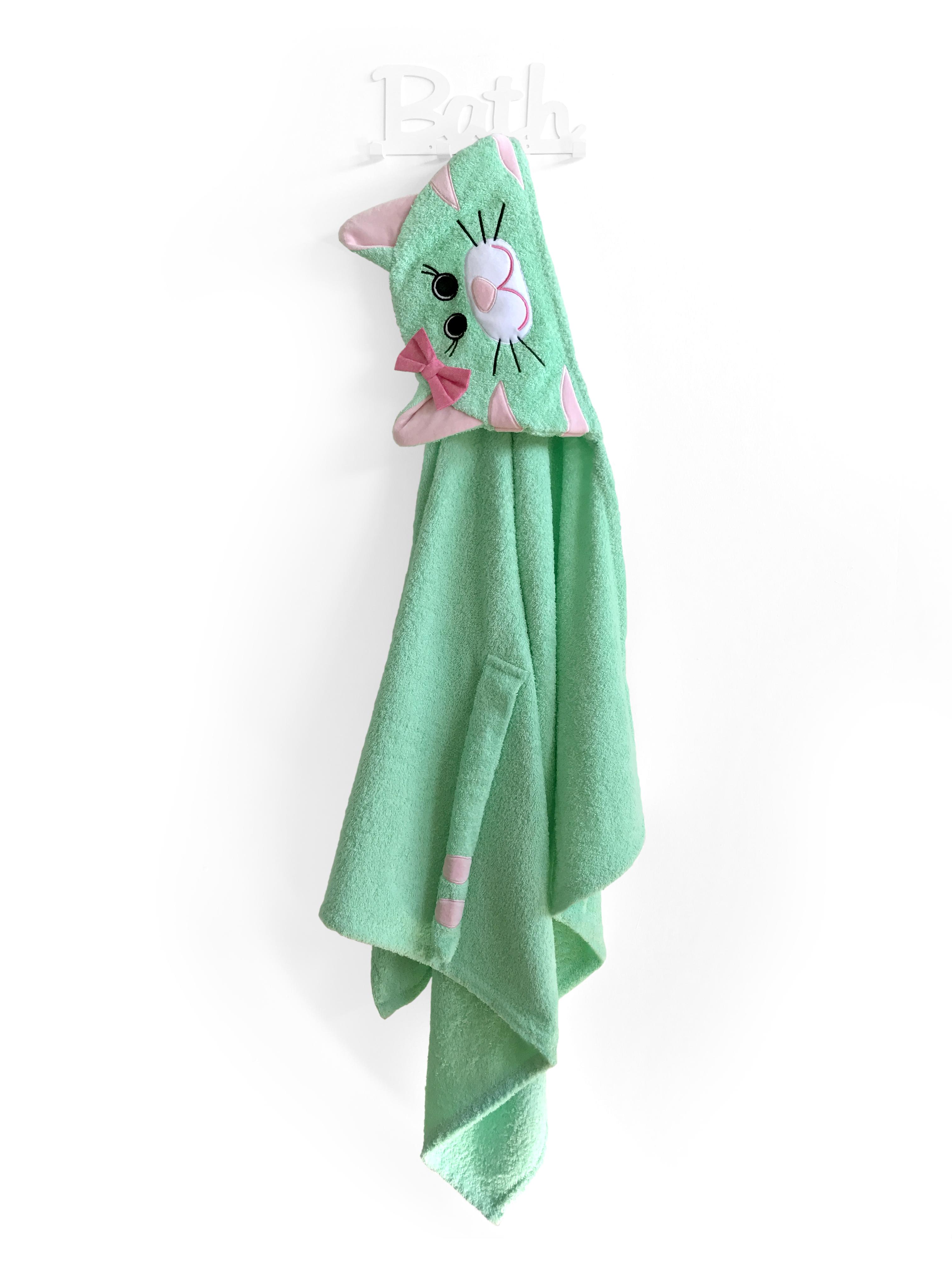 Полотенце детское Fluffy-Bunny с капюшоном Кошка, светло-зеленый imsevimse полотенце с капюшоном cова