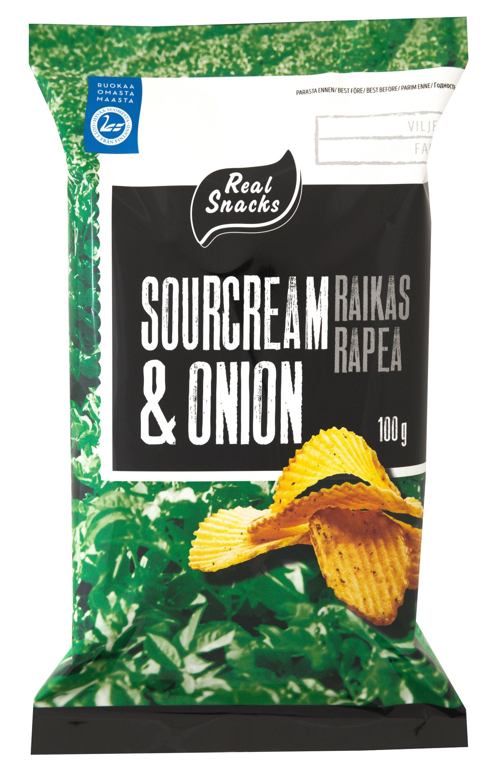 Чипсы Real Snacks Лук-сметана, Сметана чипсы bruto plast сметана лук 90 г