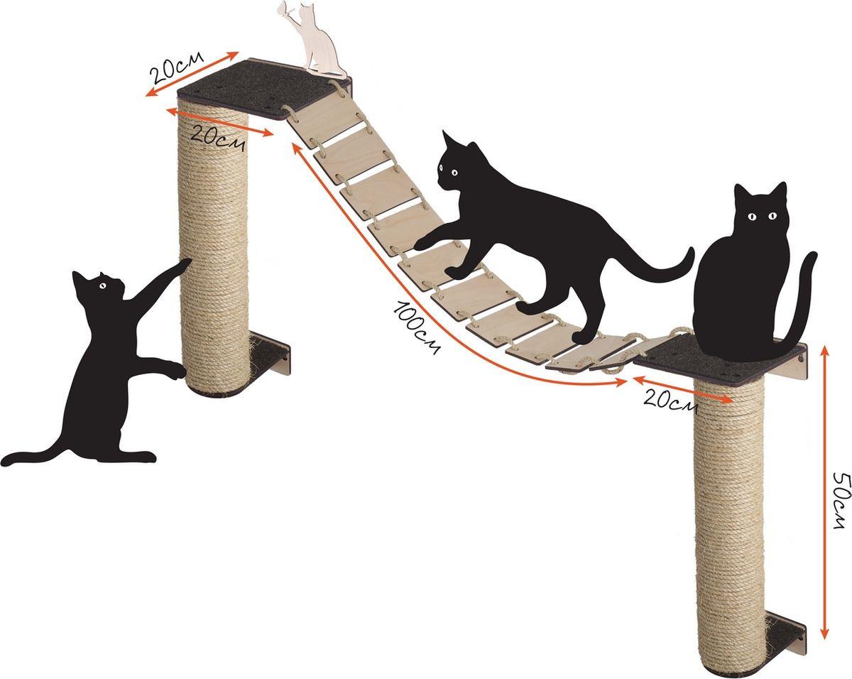Когтеточка Хвостович №105, 4603726832960, шоколад4603726832960Игровой комплекс устанавливается на стену и позволяет кошкам точить коготки, играть и резвиться, а также удобно расположиться на любой лежанке и отдохнуть. Понаблюдайте за поведением своих питомцев. Если Вы увидите, что они любят забираться повыше, тогда установите одну из лежанок как можно выше, и у Вашей кошки появится любимое место отдыха, где она будет наблюдать за всеми с высоты. Когтеточка - столбик обмотана высококачественной сизалевой веревкой, благодаря чему когтеточка будет служить долго. Типовой размер комплекса составляет 120х100см и может быть изменен по Вашему желанию. Чтобы изменить размер комплекса достаточно изменить расстояние между настенными лежанками: их можно сдвигать левее/правее или выше/ниже, поэтому комплекс можно расположить практически в любом свободном пространстве на стене. Благодаря стандартным креплениям, комплекс может дополнительно комплектоваться любыми модулями Хвостович: лежанками, когтеточками, мостиками. Вы можете менять месторасположение или добавлять любые элементы по своему усмотрению. Игровые комплексы Хвостович позволяют максимально эффективно использовать настенное пространство любой квартиры или дома для создания целого мира для Вашей кошки. Настенный игровой комплекс для кошек Хвостович №105 включает в себя следующие позиции: • Когтеточки Столбик сизалевая высотой 50см и диаметром 10см с настенным креплением, 2 штуки. • Лежанки размер M (20х20см), 2 штуки. • Мостик длиной 100см. • Декоративная фигурка Кошка р-р 10х10см • Креп... Рекомендуем!