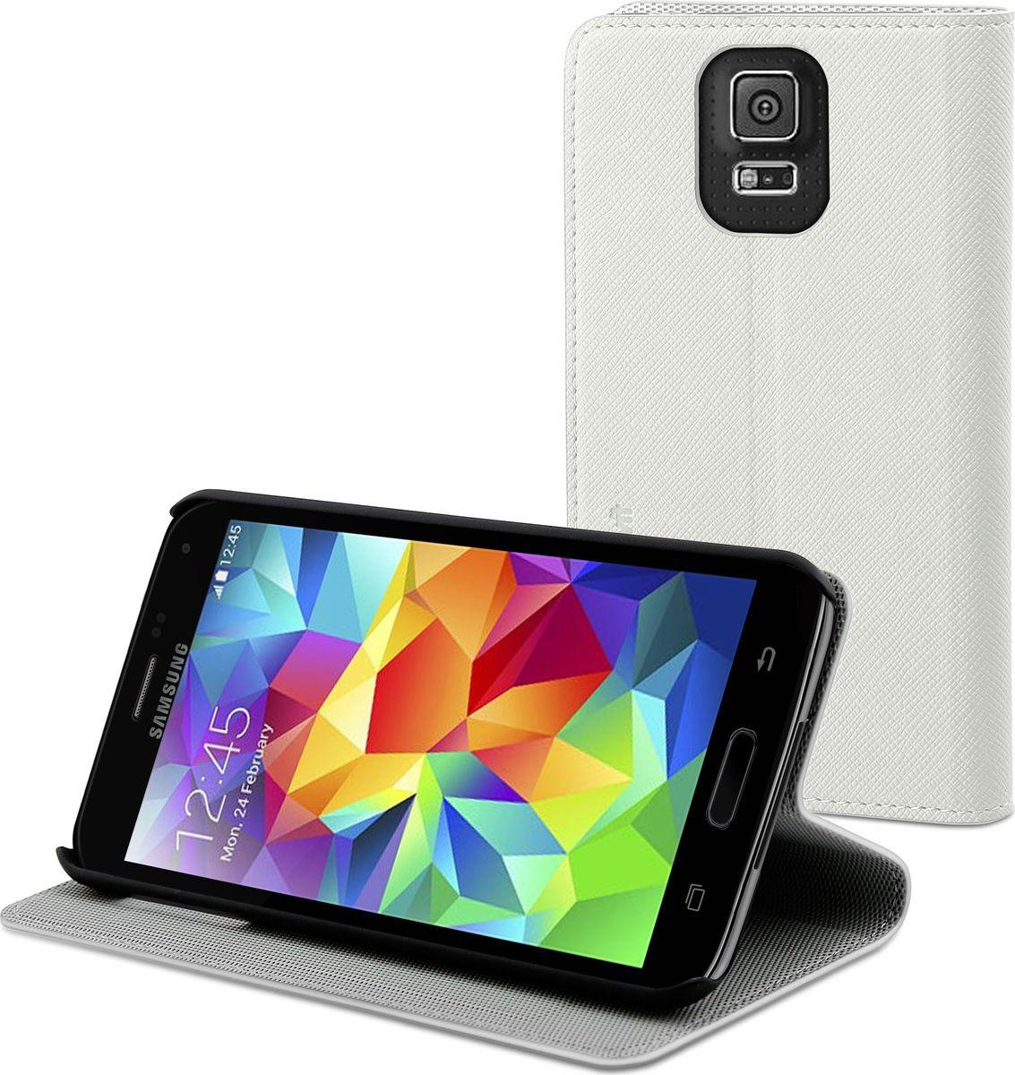 Чехол для сотового телефона Muvit Slim Folio Stand Case для Samsung Galaxy S5 бел,, MUSNS0047, белый все цены