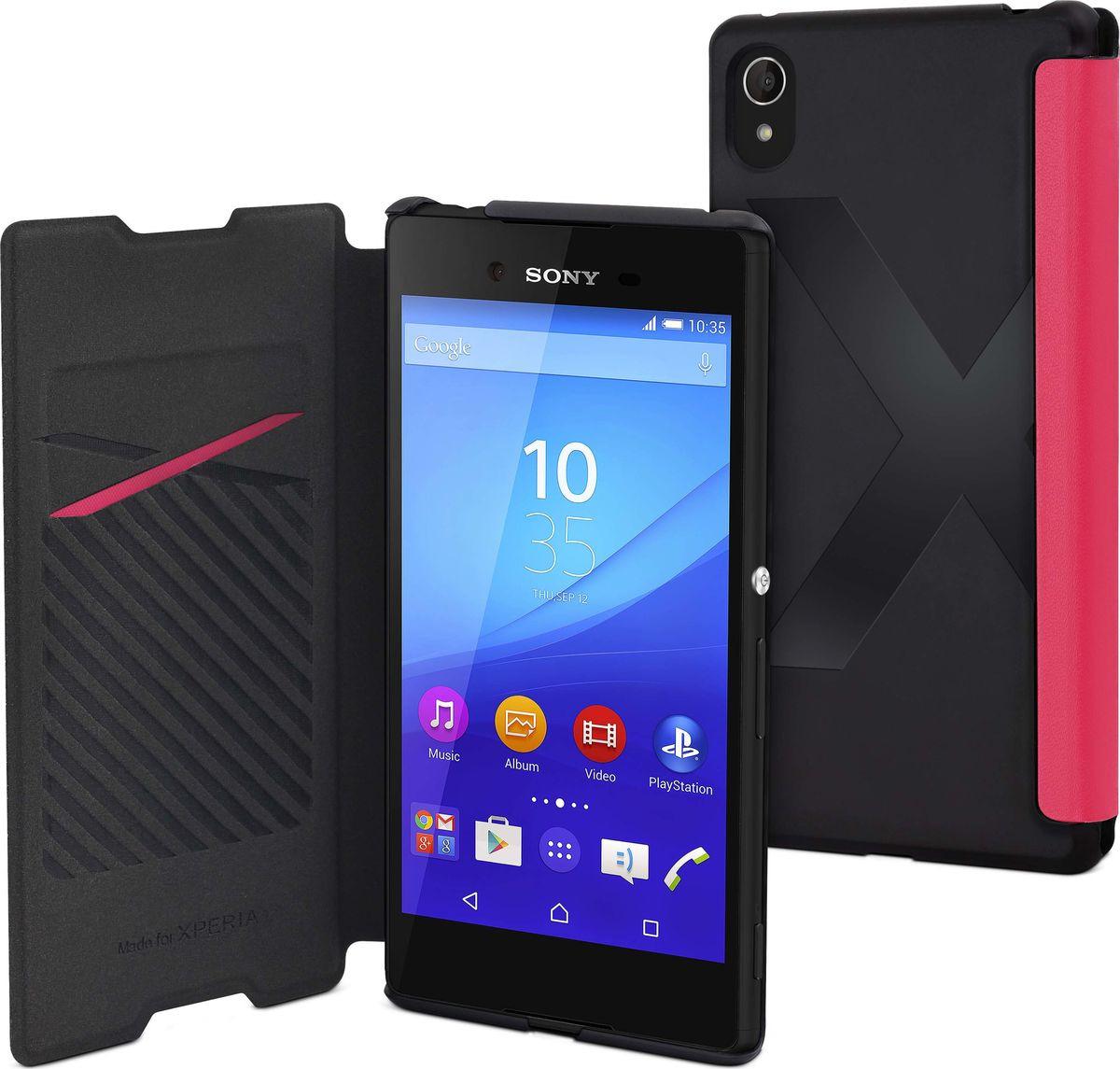 Чехол для сотового телефона Muvit MFX Easy Folio Case для Sony Xperia Z3+, SEEAF0033, розовый чехол для sony f8331 f8332 xperia xz skinbox lux case черный