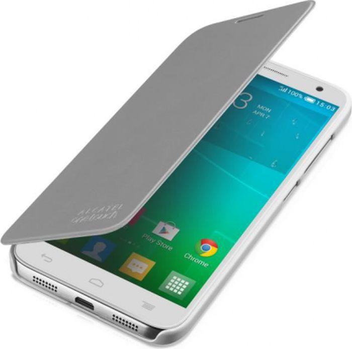 Чехол для сотового телефона Alcatel FC6050 для Idol 2S, F-GCGB60Y0S10C1-A1, серебристый чехол для сотового телефона alcatel fc5050 flip cover для pop s3 f gcgc6130k12c1 a1 шоколад