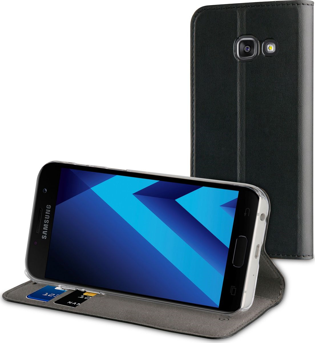 Чехол для сотового телефона Muvit Folio Stand Case для Samsung Galaxy A3 (2017), MUFLS0078, черный цена и фото