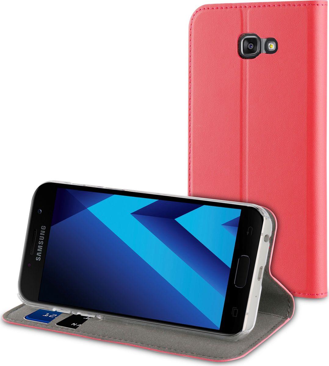 Чехол для сотового телефона Muvit Folio Stand Case для Samsung Galaxy A3 (2017), MUFLS0084, розовый чехол для сотового телефона muvit clear back crystal case для samsung galaxy note 4 mucry0036 прозрачный