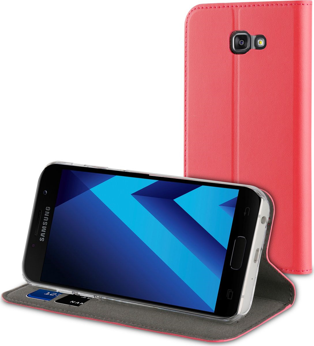 Чехол для сотового телефона Muvit Folio Stand Case для Samsung Galaxy A5 (2017), MUFLS0086, розовый чехол для сотового телефона muvit clear back crystal case для samsung galaxy note 4 mucry0036 прозрачный