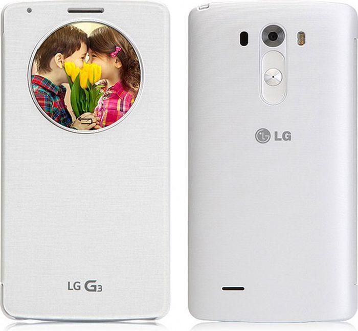 Чехол для сотового телефона LG для LG G3/G3 dual SIM Quick Circle с функцией беспроводной зарядки, CCF-340G.AGEUWH, белый стоимость
