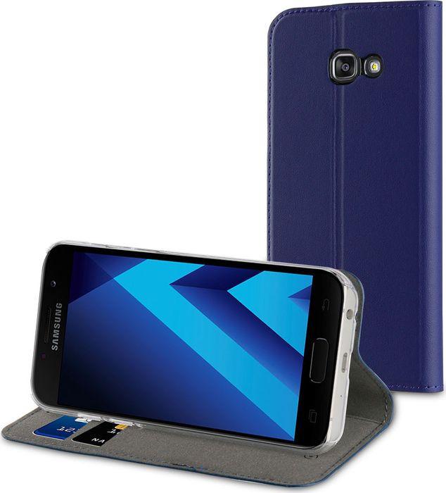 купить Чехол для сотового телефона Muvit Folio Stand Case для Samsung Galaxy A3 (2017), MUFLS0083, синий онлайн