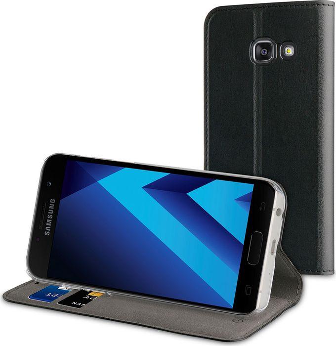 Чехол для сотового телефона Muvit Folio Stand Case для Samsung Galaxy A5 (2017), MUFLS0080, черный чехол для сотового телефона muvit clear back crystal case для samsung galaxy note 4 mucry0036 прозрачный