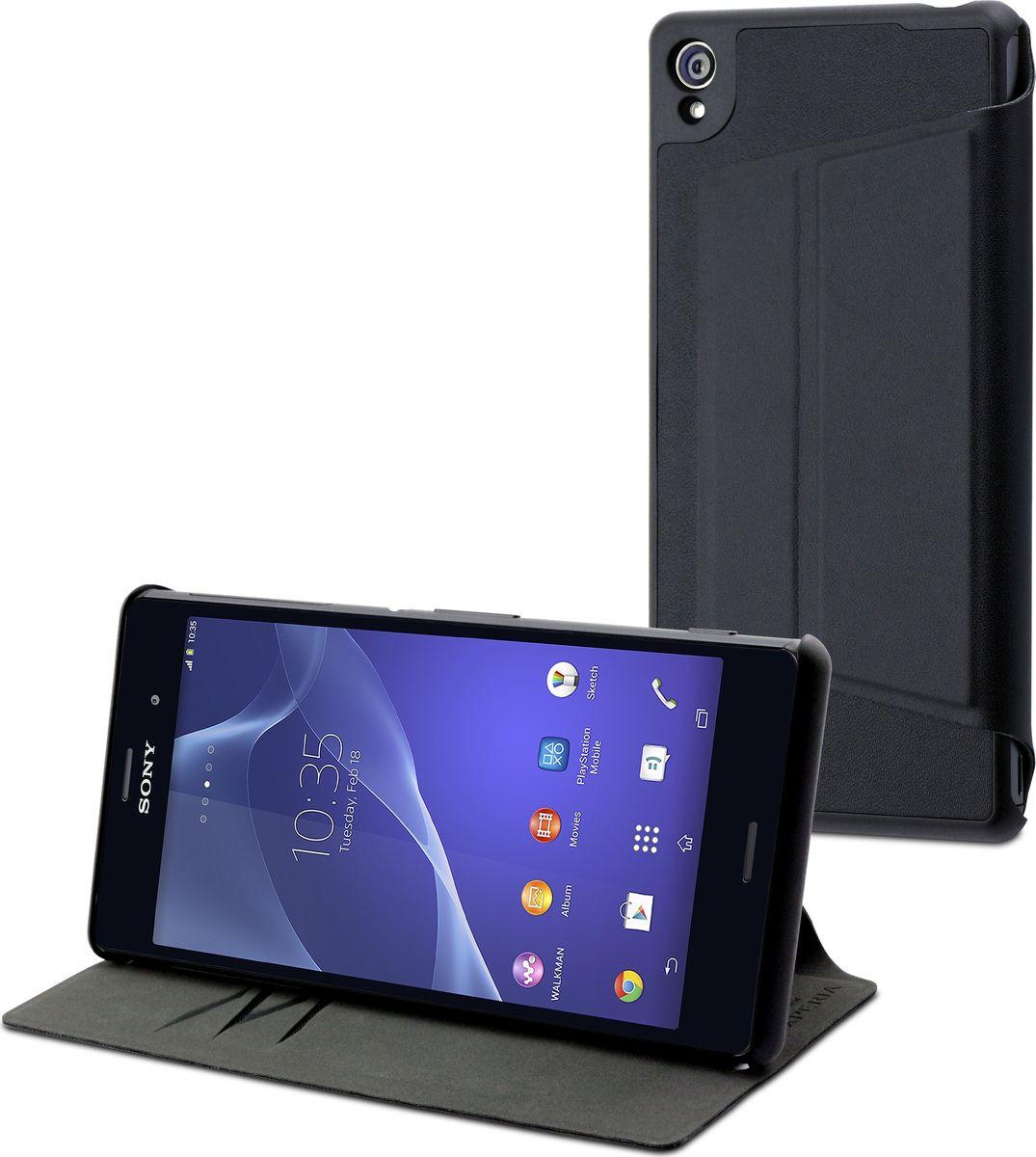 Чехол для сотового телефона Muvit MFX Stand Folio для Sony Xperia Z3, SESLI0130, черный кейс для назначение sony z5 sony xperia z3 sony xperia z3 compact xperia z5 xperia z3 xperia x кошелек со стендом чехол однотонный твердый кожа pu для sony xperia z2 sony xperia z3 sony
