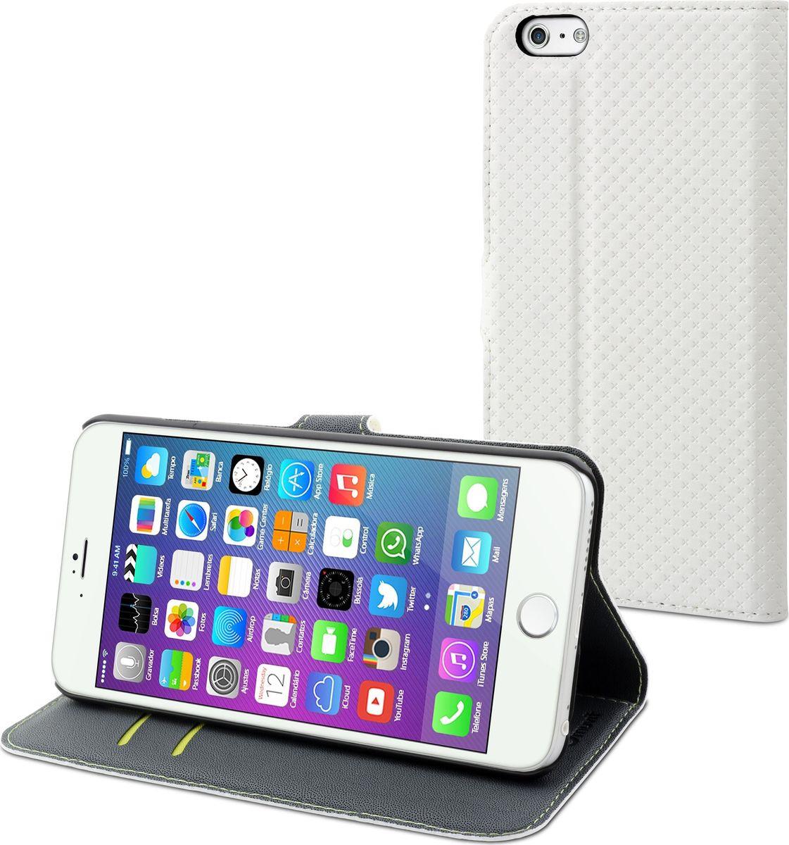 Чехол для сотового телефона Muvit Wallet Folio Stand Case для Apple iPhone 6/6S Plus, MUSNS0078, белый цена