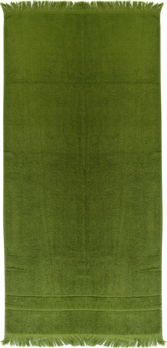Полотенце банное Tkano Essential, TK18-BT0029, с декоративной бахромой, оливково-зеленый, 70 x 140 см