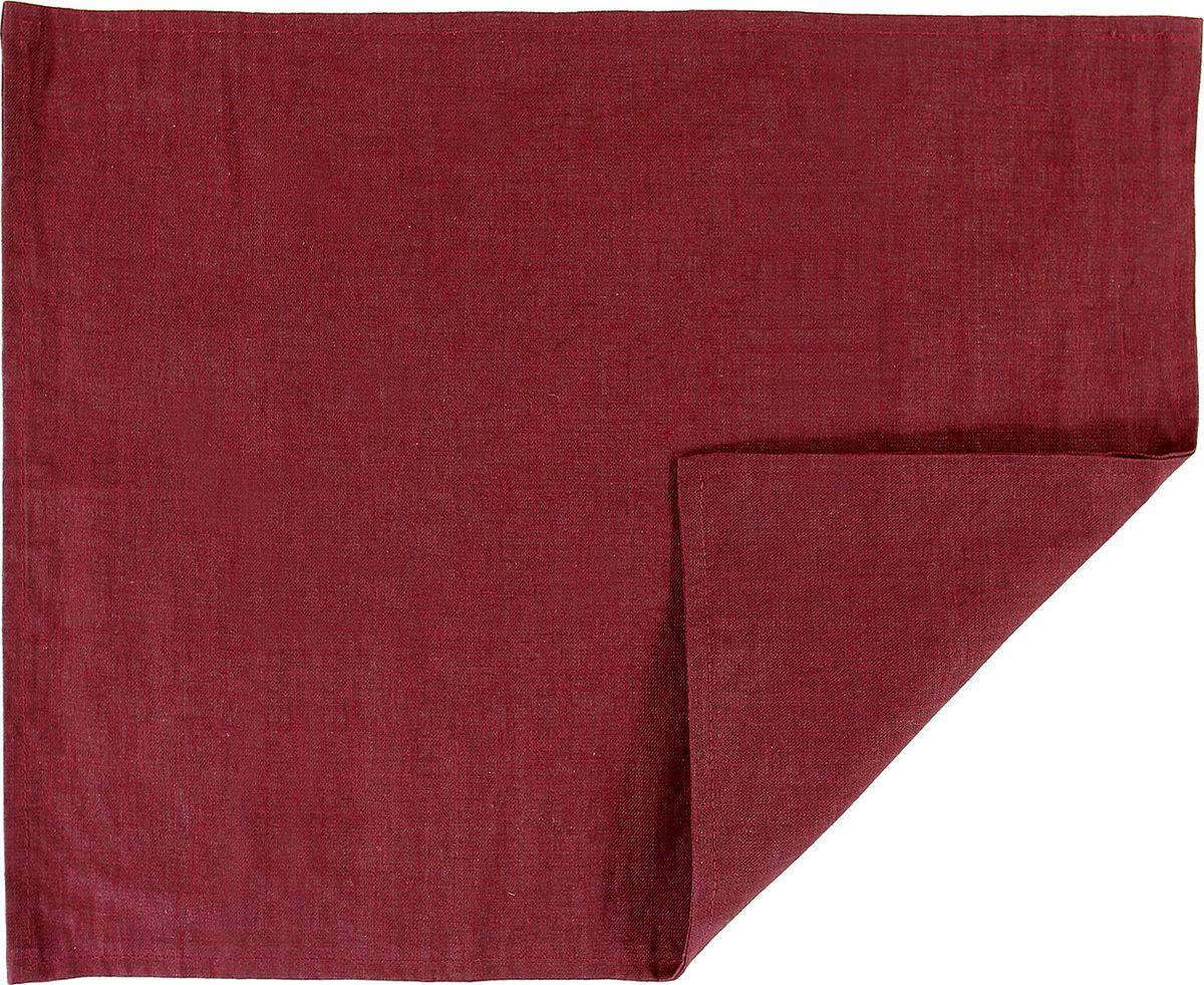 Салфетка столовая Tkano Essential, TK18-PM0010, двухсторонняя, с декоративной обработкой, бордовый, 35 x 45 см
