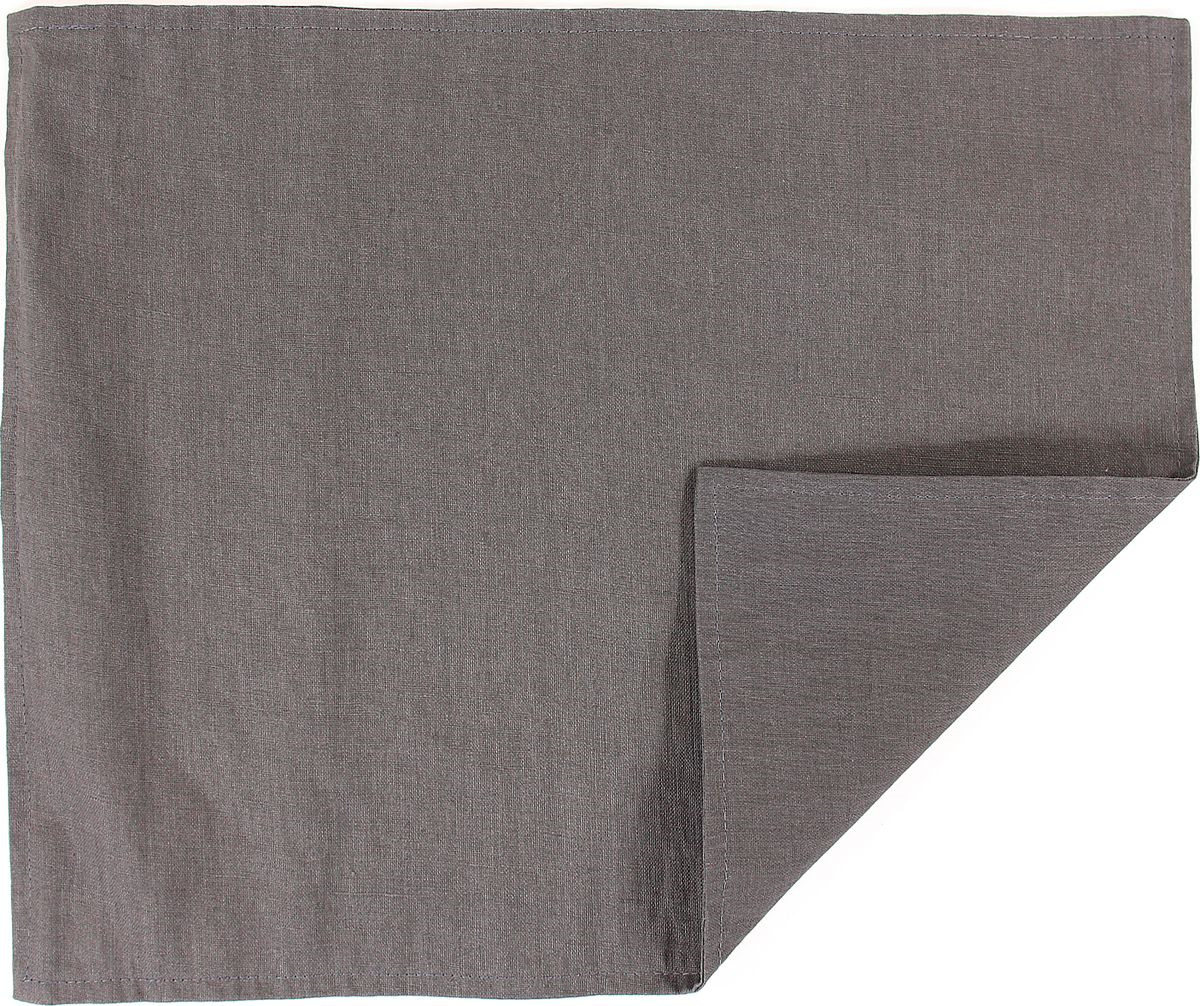 Салфетка столовая Tkano Essential, TK18-PM0013, двухсторонняя, с декоративной обработкой, темно-серый, 35 x 45 см