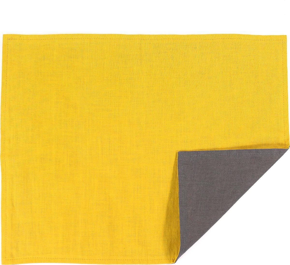 Салфетка столовая Tkano Essential, TK18-PM0016, двухсторонняя, с декоративной обработкой, темно-серый, горчичный, 35 x 45 см